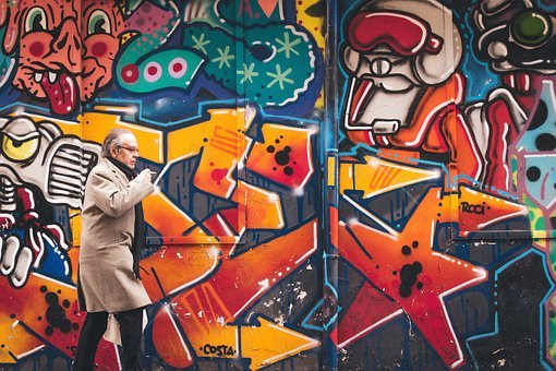 People, Man, Cigarette, Street Art, Vandal, Graffiti