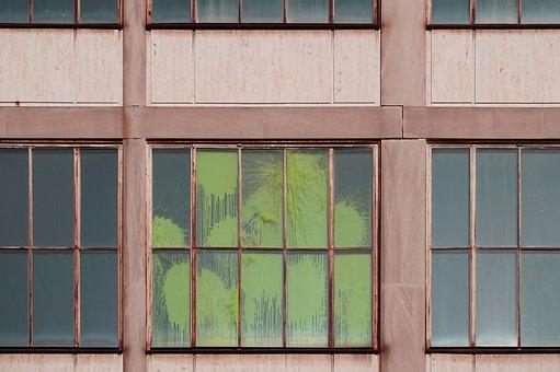 Window, Panes, Wooden, Glass, Paint, Crack, Green, Wall