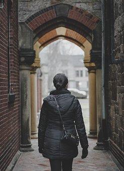 People, Woman, Jacket, Bag, Black, Street, Alley