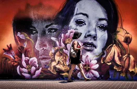 Wall, Art, Mural, Painting, Flowers, Man, Woman