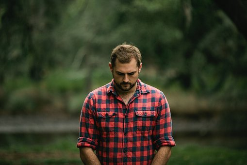 People, Man, Checkered, Flannel, Sad, Trees, Nature
