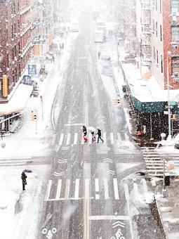Snow, City, Urban, People, Pedestrian, Lane, Signs