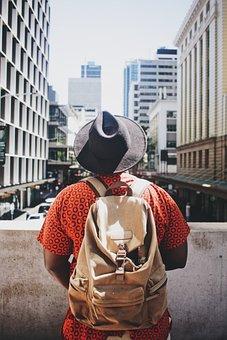 People, Man, Bag, Hat, Black, Architecture, Building