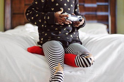 Child, Playing, Games, Bedroom, Joystick, Star, Stripe