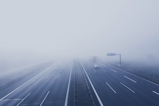 Freeway, Fog, Vehicle, Road, Lane, Car, Path