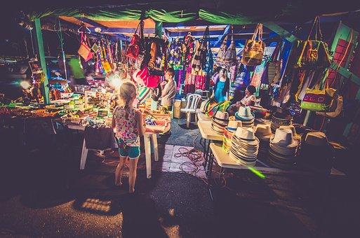 Market, Store, Shop, People, Kids, Supplies, Bags