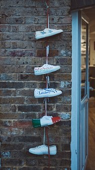 Shoes, Sole, White, Fashion, Wall, Bricks, Design