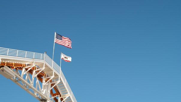 Sky, Space, Blue, Flag, American, Usa, California, Cctv