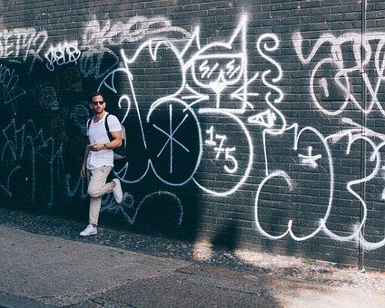 Graffiti, Wall, Art, Vandal, Man, Sunglasses, Travel