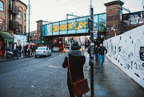 Street, Road, Beanie, City, Bag, Back, People, Walking