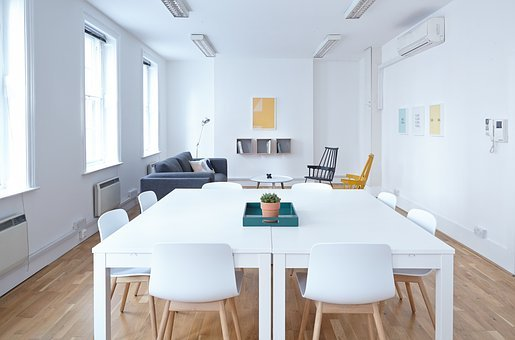 White, Room, Business, Office, Table, Chairs, Vase