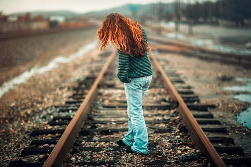 People, Girl, Woman, Alone, Railway, Track