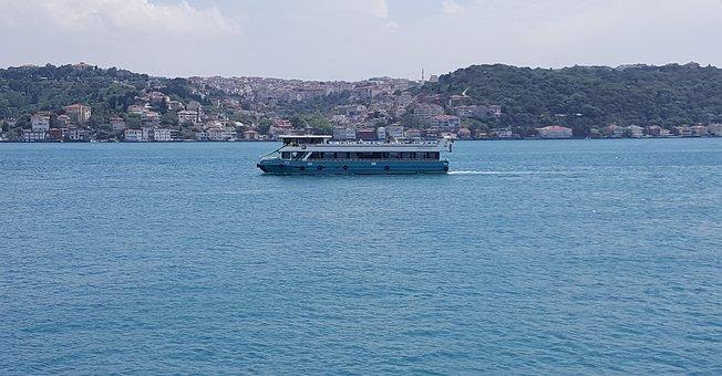 Ship, Sea, Ferry, Istanbul, Bosphorus, Blue, Turquoise