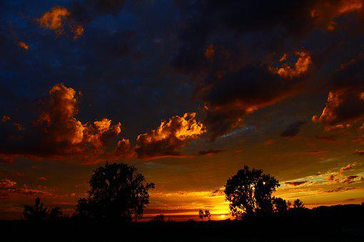 Sunset, Clouds, Sky, Evening Sky, Abendstimmung, Sun