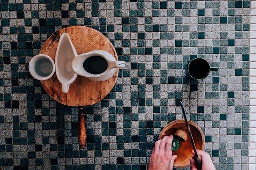 Knife, Tiles, Table, Coffee, Tea, Mug, Cup, Fruit