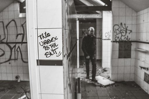 Street Art, Vandal, Graffiti, People, Man, Tiles, Dirty