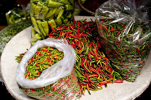 Chili, Pepper, Green, Red, Farm, Garden, Spicy, Market