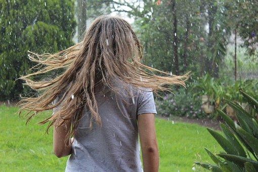 Rain, Girl, Women, Ranch, Nature, Beauty, Fashion