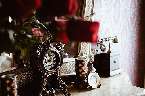 Vintage, Old, Clock, Telephone, House, Home Decoration