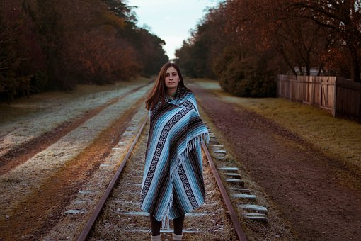 People, Female, Woman, Walking, Railway, Track, Path