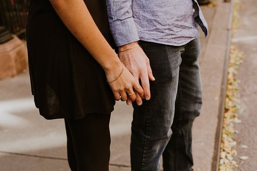 Couple, Love, People, Man, Woman, Holding Hands, Ring