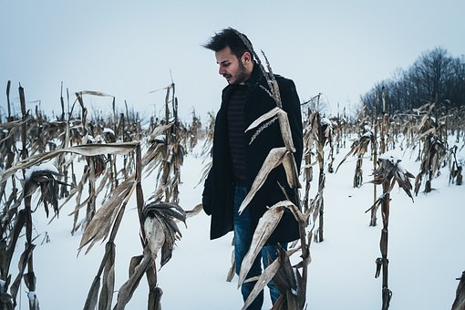 People, Man, Field, Snow, Winter, Cold, Weather, White