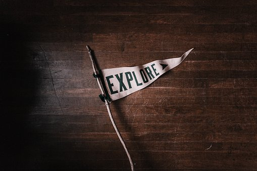 Explore, Travel, Adventure, White, Flag, Wood