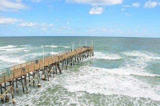 Fishing, Pier, Florida, Ocean, Sea, Waves, Daytime