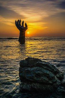 Sunrise, Homigot, Pohang, Hand, Sea, Statue