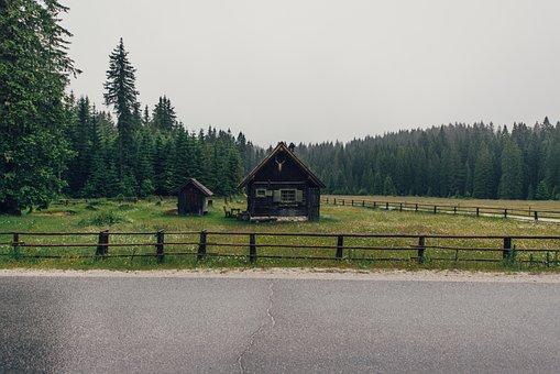 Nature, Landscape, Barn, Cabin, House, Field, Fence