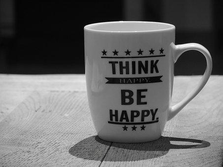 Positive Thinking, Cup, Black White