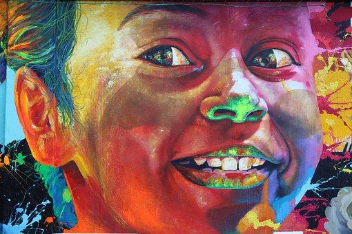 Murals, Caught, Girl, Smile, Laugh, Face, Happy