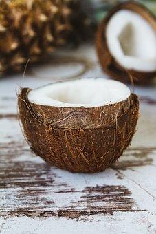 Coconut, Shell, Coconut Oil, Fruit, Wood, Food