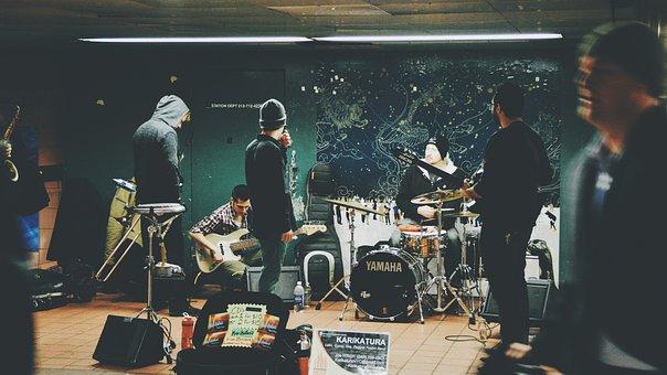 Urban, Street, Band, Song, People, Man, Guitar, Drums