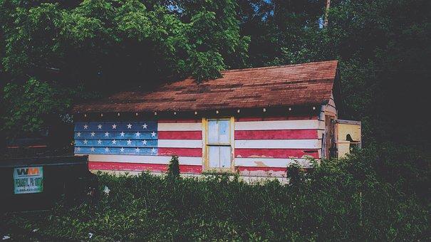 House, Home, Trees, Flag, Us, Sovereignty, Democracy