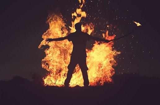 Fire, Flame, Bonfire, Dark, Night, Heat, Firewood