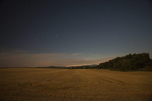 The Sky, Night, Field, Night Sky, Dark, Clouds
