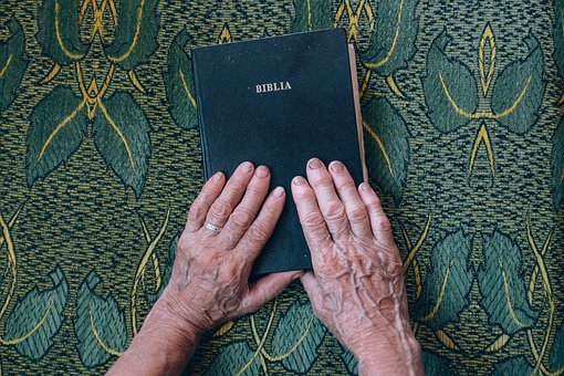 Old, Elderly, Hand, Holy, Book, Bible, Read, Table