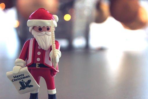 Santa Claus, Christmas, Toy, Bokeh