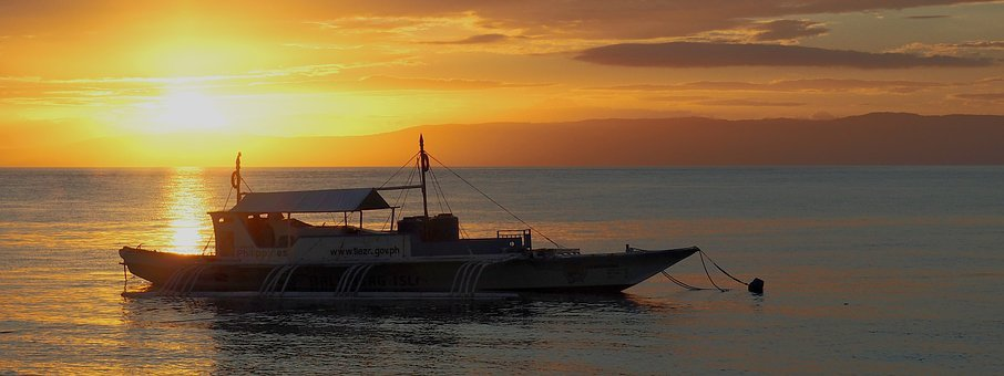 Sunset, Boat, Outrigger, Sea, Calm, Water, Reflections