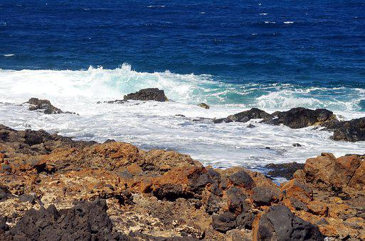 Spain, Lanzarote, Lava, Canary, Ocean, Waves, Rust