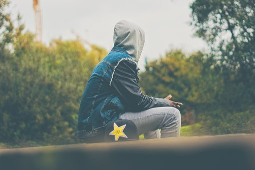 People, Man, Sitting, Alone, Sad, Hoodie, Cap, Trees