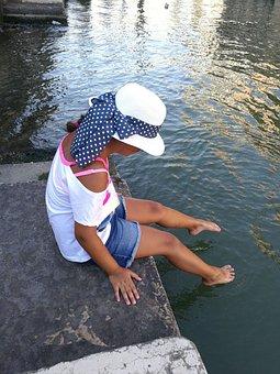 Girl, Child, Water, Baby Girl, Hat
