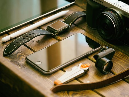 Mobile, Phone, Watch, Wooden, Table, Camera