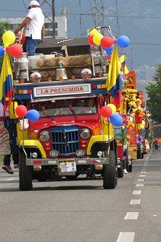 Cars, Parade, Fair, Colors, Carnival, Medellin, Joy