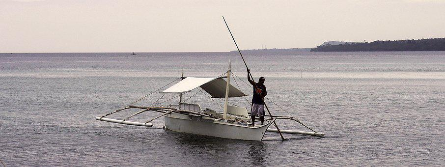 Outrigger, Calm, Island, Water, Fishing, Philippines