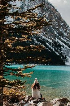 Lake, Water, Coast, Rocks, Tree, Plant, People, Girl