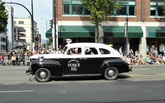 Car, Police Car, Oldtimer, Parade, Show