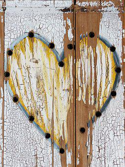 Heart, Peeling Paint, Tousled, Worn, Worn Texture