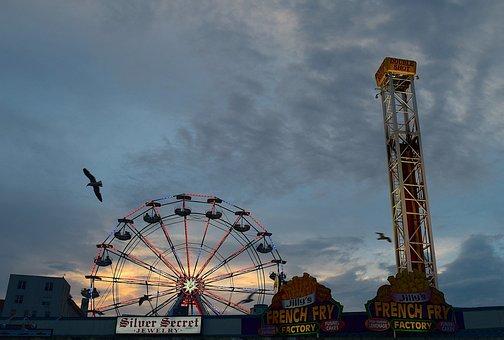 Amusement Park, Sunset, Ferris Wheel, Tower, Vacation